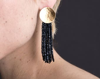 NEW Gold Beaded Tassel Statement Earrings / sparkly crystal fringe / hammered circle posts