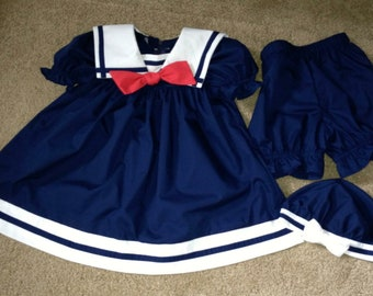 Seaside Infant Sailor Dress Set