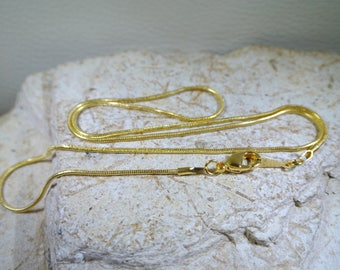 Diameter gold plated, gold metal snake chain: about 1.2 mm, length: 46 cm, lobster clasp