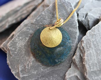 Lovely Copper Pendant with Blue Patina and Brass Overlay.  (082017-120)
