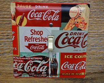 Coke Kitchen Coca Cola Lighting Switch Plate Light Switch Cover Made From Advertising Tins Collage Art Recycled Tin SP-0091