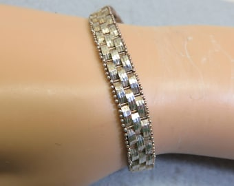 Sterling Silver Woven Link Bracelet, Solid Silver, 7.25 Inches Long