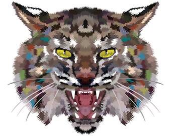 Wildcat. Cross Stitch pattern, Digital Download PDF. Geometric design of a Bobcat or Wildcat. Modern in design.