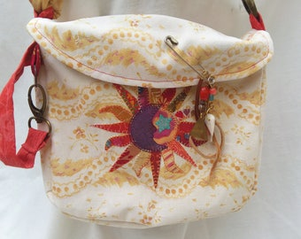 Beach treasure gathering bag, Sun, handmade