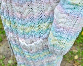 knitted a women rainbow cardigan, handmade work, very pretty cardigan for women, soft merino and casual style