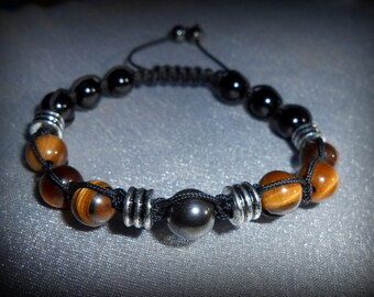 Shamballa 6-8mm Gemstone Bracelet Tigers Eye, Hematite, Onyx