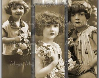 Enfants Vintage Collage numérique feuille - petites filles - 1 x 3 pouces pour les lames de verre - imprimables - téléchargement immédiat
