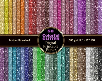 Colorful Glitter Digital Paper Pack 50 Sparkle Digital Scrapbook Paper INSTANT DOWNLOAD Printable Wrapping Paper Graphics Tinsel 12x12 JPG