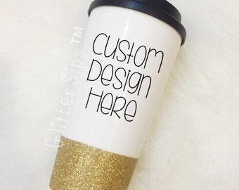 CUSTOM Coffee To Go Cup // Glitter Cup // Glitter Coffee Cup // Travel Cup // Plastic To Go Cup // Glitter To Go Cup // Custom Gift