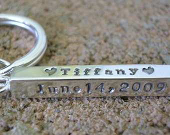 Hand Stamped Jewelry Personalized Key Chain Sterling Silver Keychain Charm