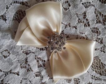 Ivory Satin Hair Bow with Rhinestone Center, Ivory Flower Girl Hair Bow, Hair Bow