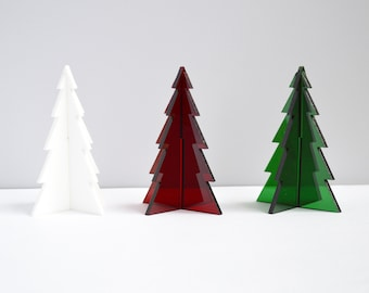 Made to order laser cut acrylic standing holiday Christmas pine tree holiday home decor // set of three