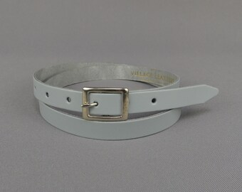 "Leather Belt Handmade Light Grey 3/4"" // Womens 20mm Real Leather Skinny Belt"