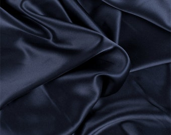 Navy Blue Silk Charmeuse, Fabric By The Yard