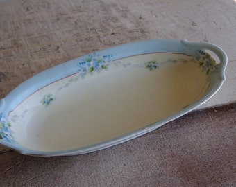 1930s Hand Painted Meito China Oval Vegetable Dish Blue Floral Motif For A Country Kitchen
