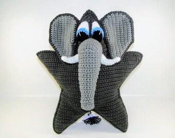 Crochet Pattern - Elephant Crochet Pattern - Peanut the Elephant Star Pillow Pattern #103 - Instant Download PDF