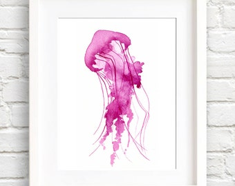 Pink Jellyfish Art Print - Wall Decor - Watercolor Painting