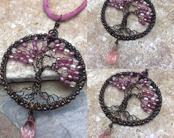 Crystallized Cherry Blossoms Tree of Life Wire Wrapped Necklace, Pink, Marta Weaver Jewelry, Free Shipping