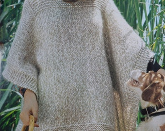 Simple poncho pdf cover up adult woman's vintage knitting pattern pdf instant download pattern only pdf 1970s