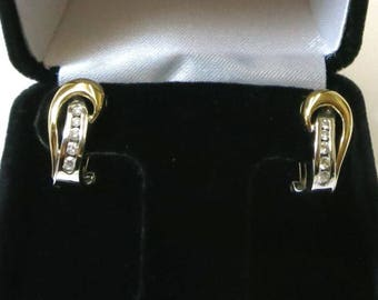 diamond earings tri color 14k gold clip on for pierced ears /diamond earings 14k tri gold