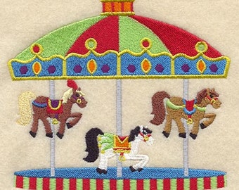Carousel of Horses Embroidered Flour Sack Hand/Dish Towel