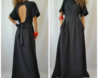 Black Maxi Dress / Short Sleeves Open Back Dress / Black Kaftan / Extravagant Long Dress / Party Dress / Daywear Dress / MD 10122