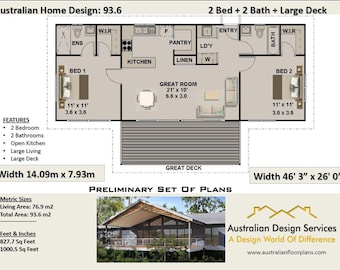 93.6 m or 1000 sq foot - Australian 2 Bed + 2 Bath +  Home Plans For Sale / on stumps and timber floor / Steep Slope House Design