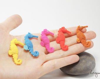 Miniature colorful Seahorses - Tiny Amigurumi Seahorses – Crochet Seahorses – Made To Order