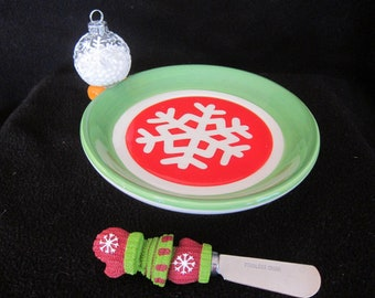 Christmas Snowflake Snowball Candy Cookie Cheese Spreader Home Decor