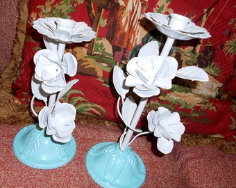 Vintage shabby chic  tole flower candle sticks