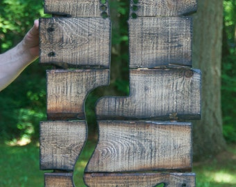 Rustic custom made music guitar wood working wall art