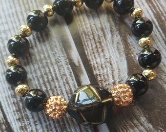 Black and Gold Gemstone Bracelet