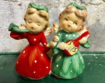 Vintage Christmas Angel Bisque figurine candleholder Napco Lefton Japan