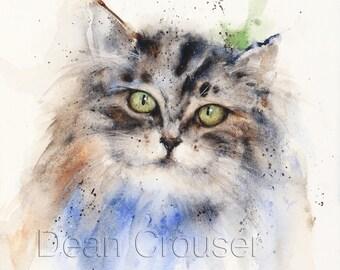 KITTEN Watercolor Print, Cat Painting, Cat Art, by Dean Crouser