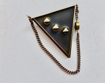 Vintage Silver and Black Brooch Pin / Designer Signed / 1980s Pin / Triangle Hanging Chain