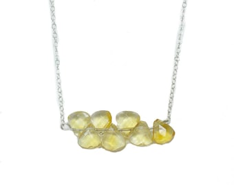 Citrine Faceted Handmade Silver Necklace