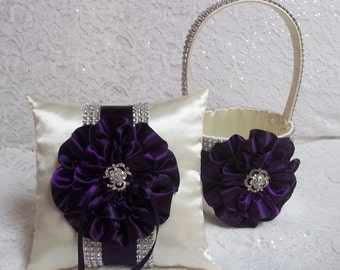 Deep Plum Purple Flower Girl Basket and Ring Bearer Pillow Set, Bling Flower Girl Basket and Ring Bearer Pillow in Dark Plum Purple & Ivory
