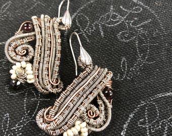 Bravo II earrings, Copper, Silver, Garnet, Cubic Zirconia , vintage Crystal, and freshwter seed Pearls, ThePurpleLilyDesigns