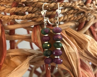 Ruby Zoisite and Fine/Sterling Silver Earrings - Free U.S. Shipping