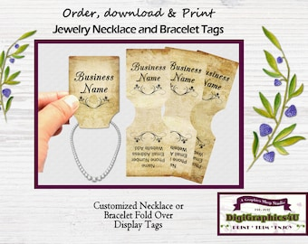 Weathered Inspired Fold Over Jewelry Tags for Necklace or Bracelet - Printable Digital File