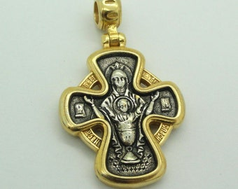 Free shipping, Hand made Russian Orthodox Cross 925 sterling silver & 24K Gold Pendant. Unique Gift! (c p421)