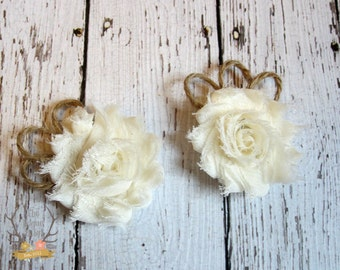 Rustic Wedding Shoe Clips - Burlap Twine & Chiffon - Wedding  Ivory cream - Flower Girl