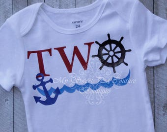 Nautical Second Birthday Outfit- Sailing Birthday- 2nd Birthday Outfit- Nautical Birthday- 2nd Birthday- Sailing Birthday- Anchor- Two