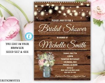Rustic Bridal Shower Invitation, Rustic Invitation, Bridal Shower Template, Instant Download, Bridal Shower Invitation, Template, DIY, EDIT