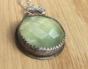 Sterling Silver Pendant with Prehnite
