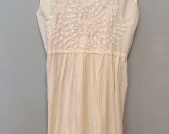 1980s White Dress with Cotton Embroidery