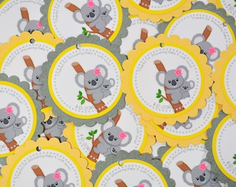 Yellow Gray Koala Favor Tag Stickers Baby Shower Gender Neutral Birthday Party Decoration Gift - Set of 12