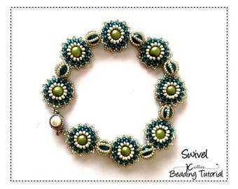 Right Angle Weave Seed Bead Jewellery Instructions Beaded Floral Pearls Feminine Tennis Bracelet Beading Pattern Beadweaving Tutorial SWIVEL