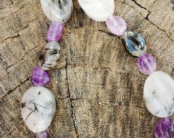 Tourmalated quartz amethyst bracelet