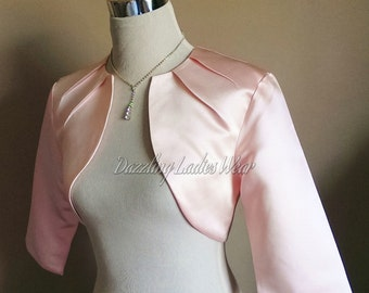 Light Pink Satin Bolero Fully Lined - UK 4-26/US 1-22 Shrug/Cropped Jacket/Wrap/Shawl - Pleated neck